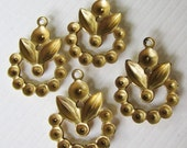 Raw Brass Glue-In Stone Settings - Charms - Drops - Embellishment - Focal - 18x15mm