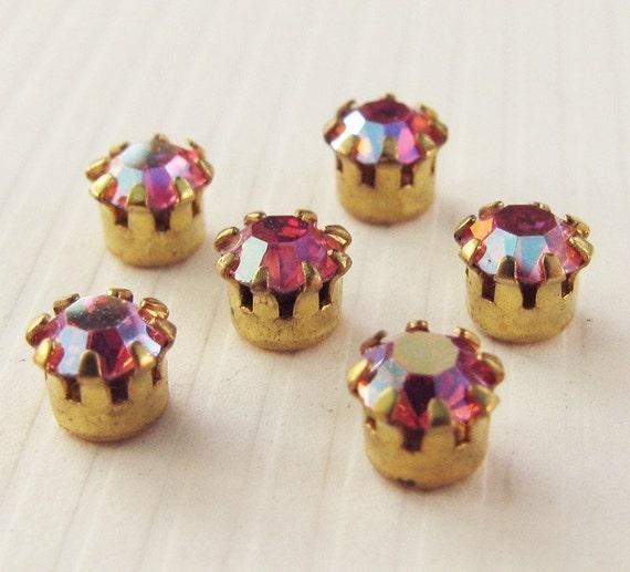 Vintage Rhinestones Light Siam AB Glass Jewels - Faceted Stones - Tiffany Raw Brass Settings - 3.5mm