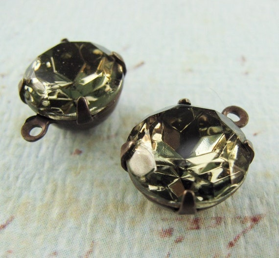 Vintage Rhinestones Black Diamond Round Glass Jewels - Faceted Stones - Hand Antiqued Brass Settings - 11mm