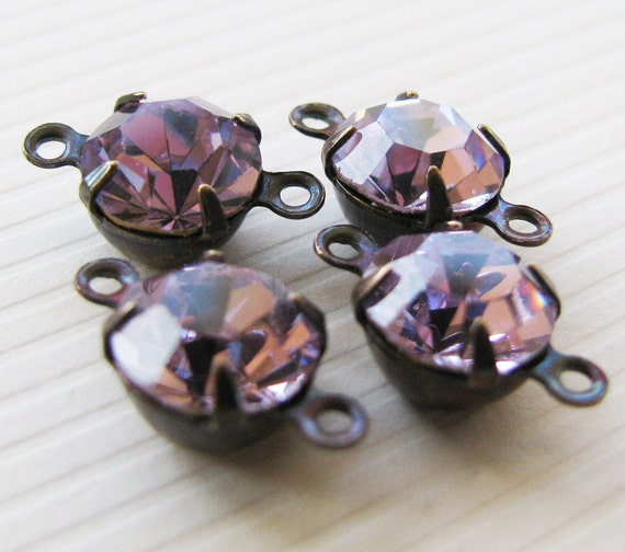 Vintage SWAROVSKI Alexandrite Round Glass Jewels - Rhinestone Connectors - Faceted Stones - Hand Antiqued Brass Settings - Foil Back - 8mm