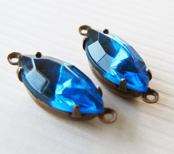 Vintage Glass Rhinestones Blue Zircon Navettes - Vintage Jewels - Connectors - Hand Antiqued Brass Settings - 15x7mm