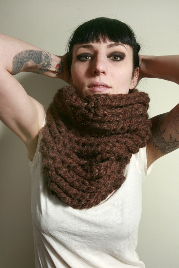 The Cortlandt Chain Cowl Scarf in Redwood Brown