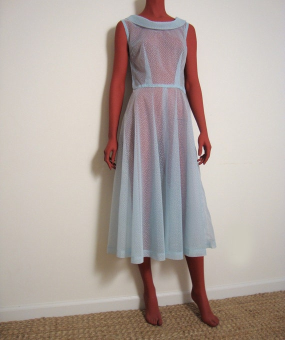 1960s light blue sheer dotted swiss dress with cowl neckline going
