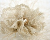 Ellen - Taupe Lace Hair Fascinator with Pearl Embellishment - Handmade