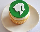 EXCLUSIVE Modern Silhouette Fondant Cupcake Topper for Girl Birthday Parties and Other Occasions