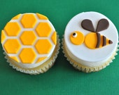 EXCLUSIVE Set of Bumble Bee and Honey Comb Fondant Cupcake Topper for Birthday Parties and Other Occasions