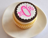 Traditional 3 Letter Hand Written Monogram Fondant Cupcake Toppers for Baby Shower, Birthday, Baptism, Christening, Easter, and Other Events