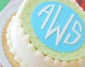 Custom Monogram Fondant Cake Topper for Birthdays, Showers, and All Occasions