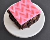 Pink Chevron Fondant Brownie Toppers For Birthdays and Other Occasions