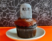 3D Tombstone Fondant Cupcake Toppers for Halloween Parties and Other Events