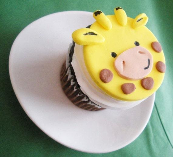 Giraffe Fondant Cupcake Topper for Safari or Jungle Theme Party