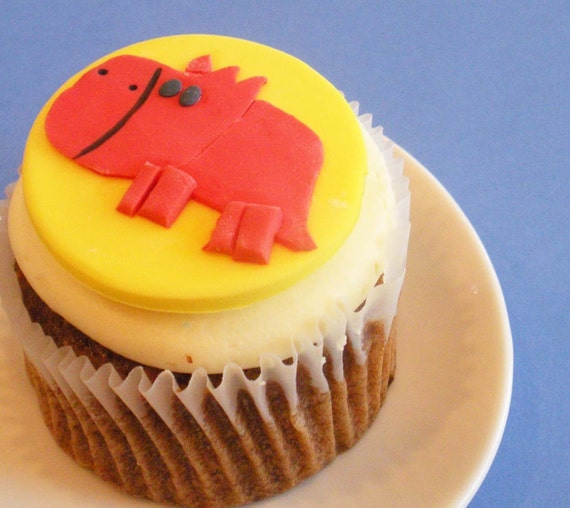 Triceratops Dinosaur Fondant Cupcake and Cookie Topper