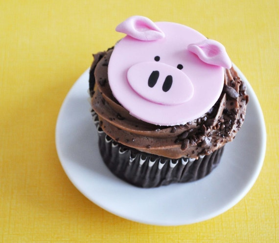 Pig Fondant Cupcake Topper for Farm or Animal Themed Birthday Party
