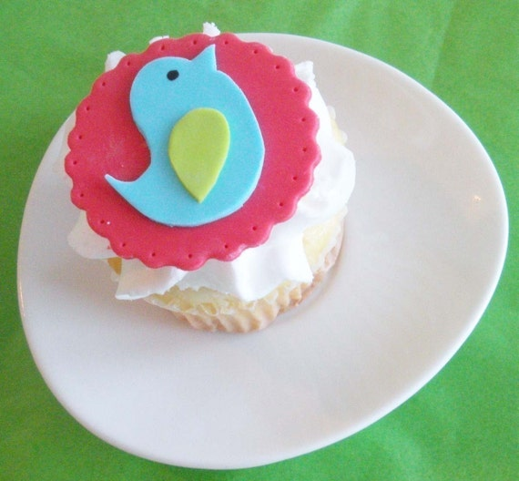 Colorful Modern Bird Fondant Cupcake Toppers for Birthdays, Showers, and Other Events