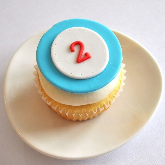 EXCLUSIVE Modern Train Age or Initial Fondant Cupcake Toppers for Thomas or Train Birthday Parties and Other Occasions