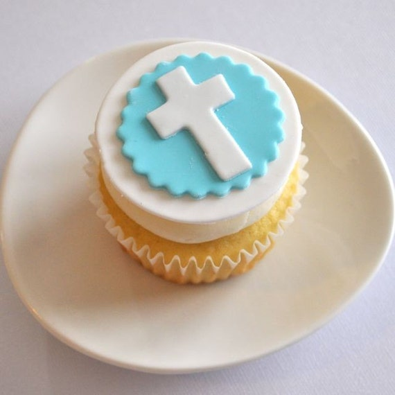 Cross Fondant Cupcake Toppers for Baptism, Christening, Easter, and Other Events