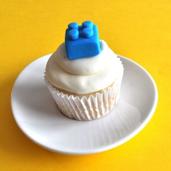 Building Block Fondant Cupcake Toppers for Boy Birthdays and other Parties