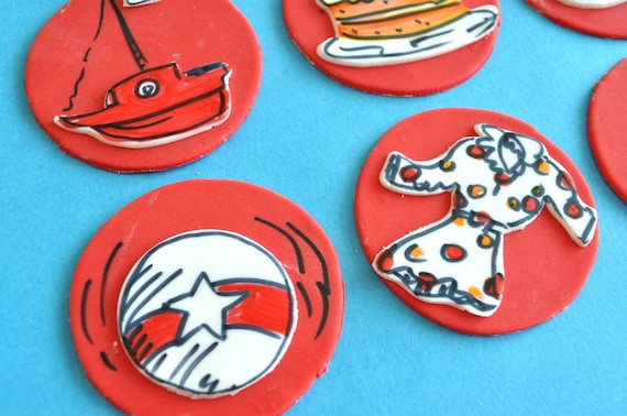 Cat in the Hat Personalized Fondant Cupcake Toppers for Birthday Parties and Other Events