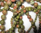 4mm Unakite Round Beads - 16 inch strand