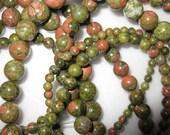 6mm Unakite Round Beads - 16 inch strand