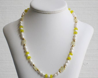 Freshwater Pearl and Yellow Millefiori Bead Necklace