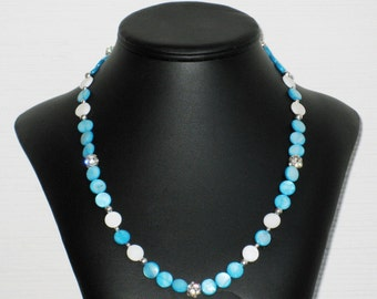 Turquoise Mother of Pearl and Rhinestone Necklace
