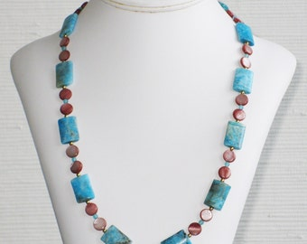 Cocoa Mother of Pearl and Turquoise Rectangle Necklace