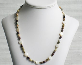 Mother of Pearl and Moukaite Jasper Bead Necklace