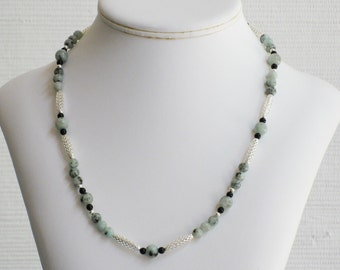 Black Onyx and Sesame Jasper Open Weave Necklace