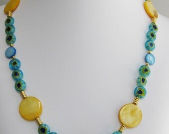 Yellow Mother of Pearl and Millefiori Necklace