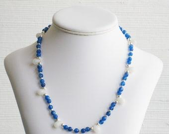 Blue Agate and Quartz Teardrop Bead Necklace