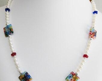 Colorful Millefiori Square and Pearl Necklace