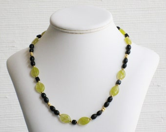 Black and Limon Green Marquise Glass Bead Necklace