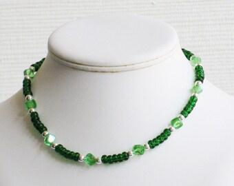 Bright and Light Green Glass Bead Choker