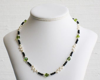 Black Onyx, Freshwater Pearl and Green Glass Necklace