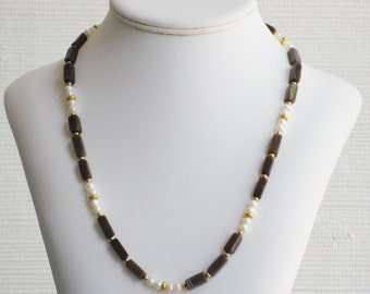 Freshwater Pearl and Jasper Rectangle Tube Necklace