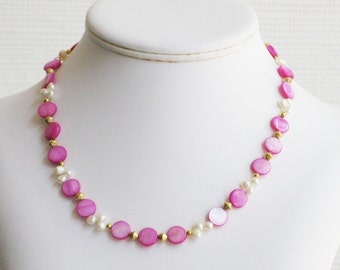 Fuschia Mother of Pearl and Freshwater Pearl Choker