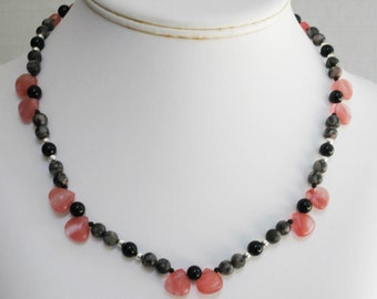 Fossil Agate, Black Onyx and Cherry Quartz Necklace
