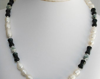 Moss Agate, Tree Agate and Freshwater Pearl Necklace