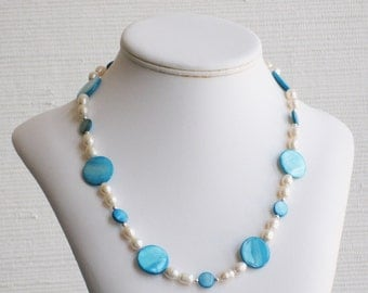 Turquoise Mother of Pearl and Freshwater Pearl Necklace