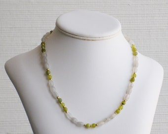 Snow Quartz and Olive New Jade Bead Necklace