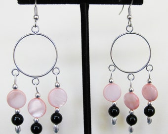 Black Onyx and Peach Mother of Pearl Earrings