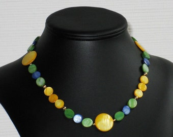 Yellow, Blue and Green Mother of Pearl Bead Choker