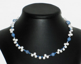 Freshwater Pearl and Blue Agate Choker