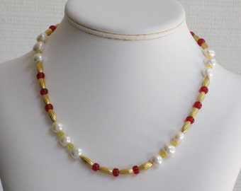 Yellow Jade, Red Glass and Freshwater Pearl Necklace