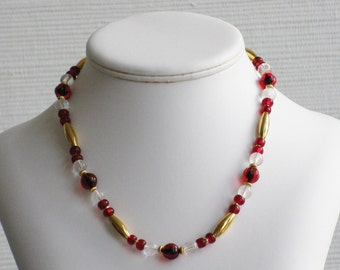 Quartz Crystal and Red Glass Bead Necklace
