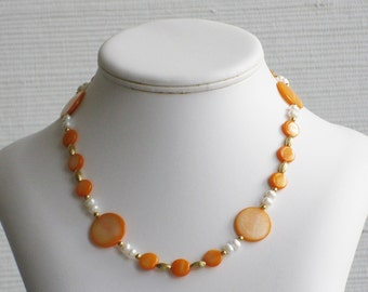 Orange Mother of Pearl and Freshwater Pearl Choker