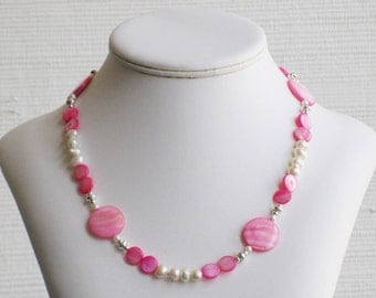 Freshwater Pearl and Pink Mother of Pearl Necklace