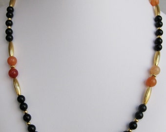 Black Onyx and Red Agate Bead Necklace