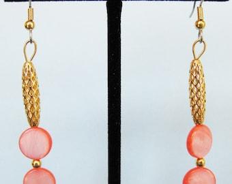 Salmon Mother of Pearl Open Weave Drop Earrings